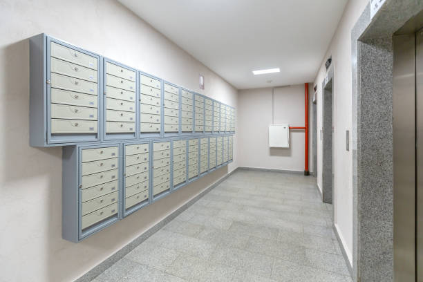 Elevators and mailboxes at the entrance of residential apartment-house