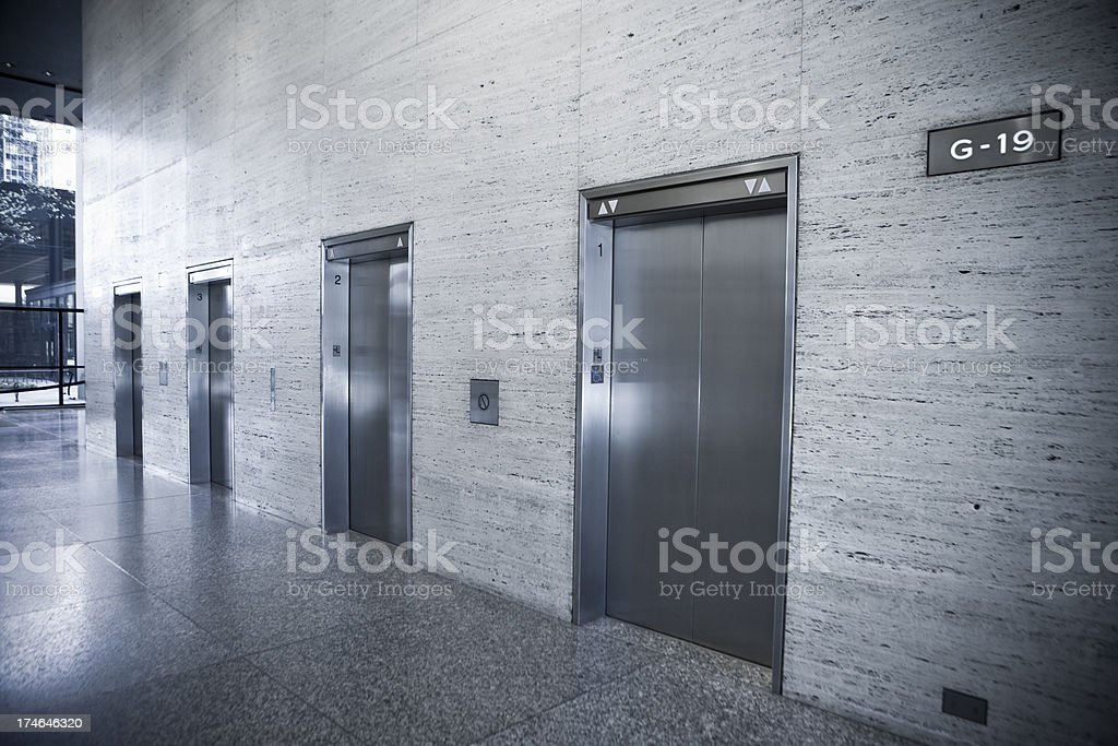 Elevators in a modern office building stock photo