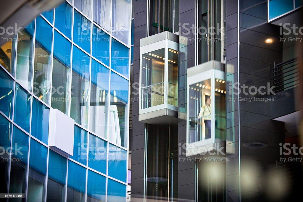 Elevators Inside Modern Office Building stock photo