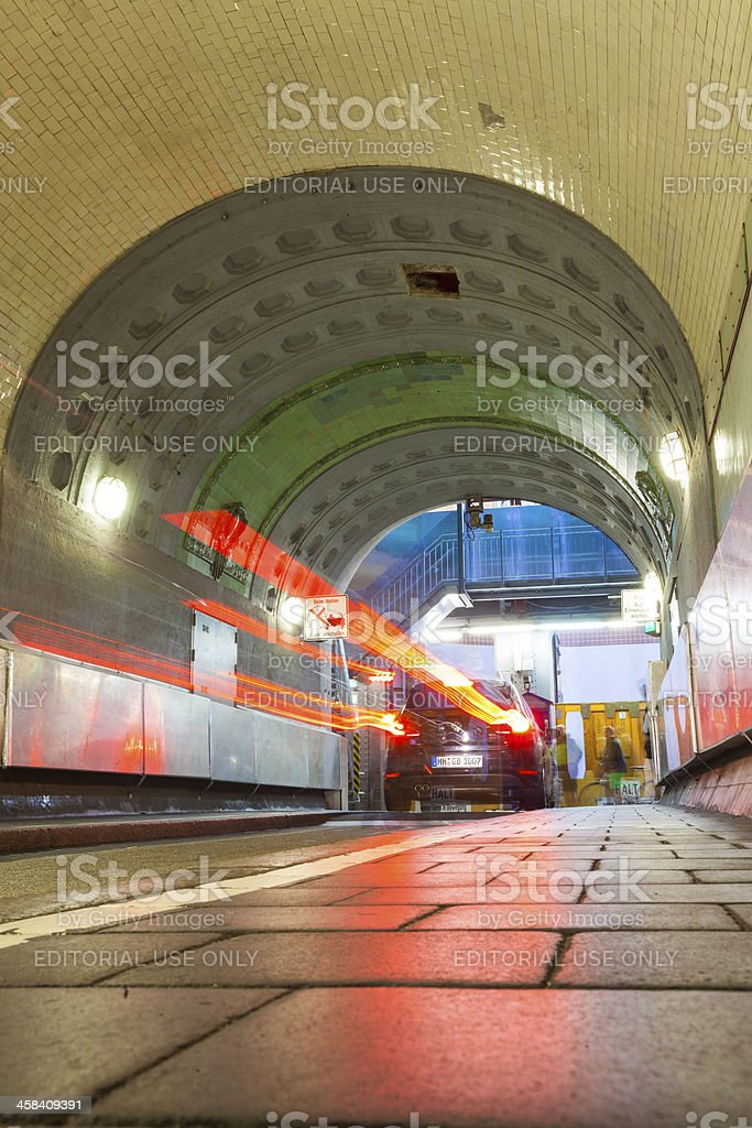 Elevators used to move cars in the Elbstunel stock photo
