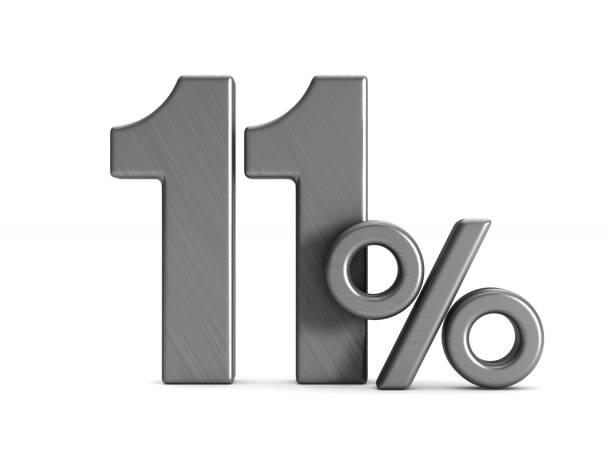 beyaz arka plan üzerinde yüzde 11. i̇zole 3d çizim - bearn stok fotoğraflar ve resimler