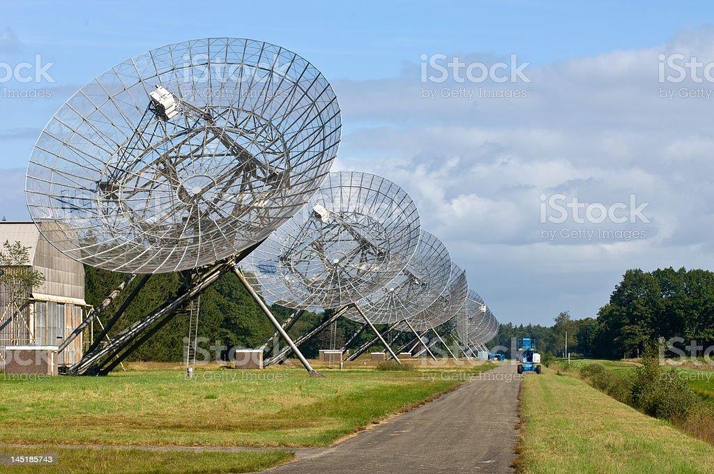 Eleven Radio Telescopes in a row royalty-free stock photo