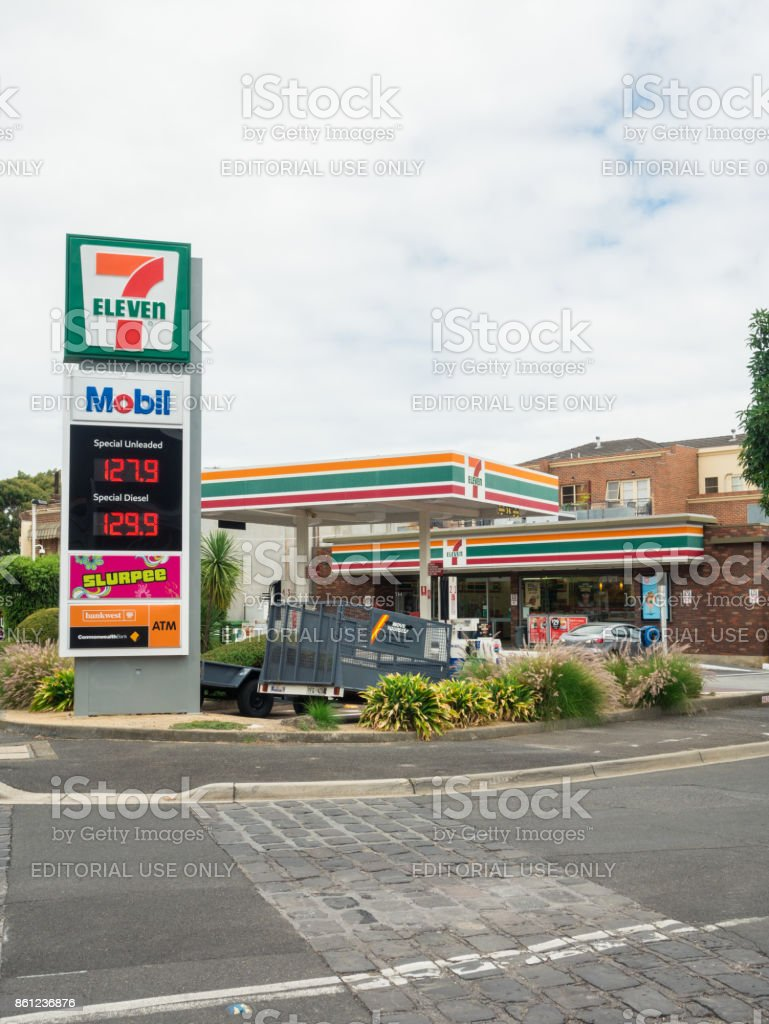 7 Eleven service station in Hawthorn in suburban Melbourne. stock photo