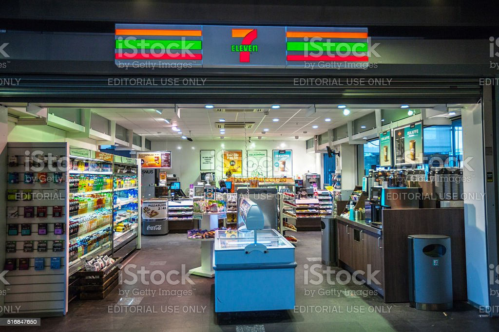 7 Eleven Store at Oslo Train Station, Norway stock photo