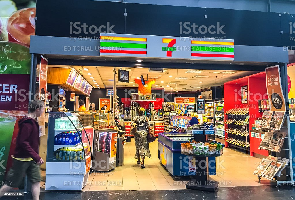 7 Eleven Store inside Oslo Central Train Station, Norway stock photo