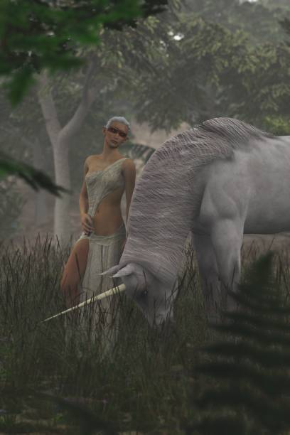 3D elf and unicorn on a foggy day stock photo