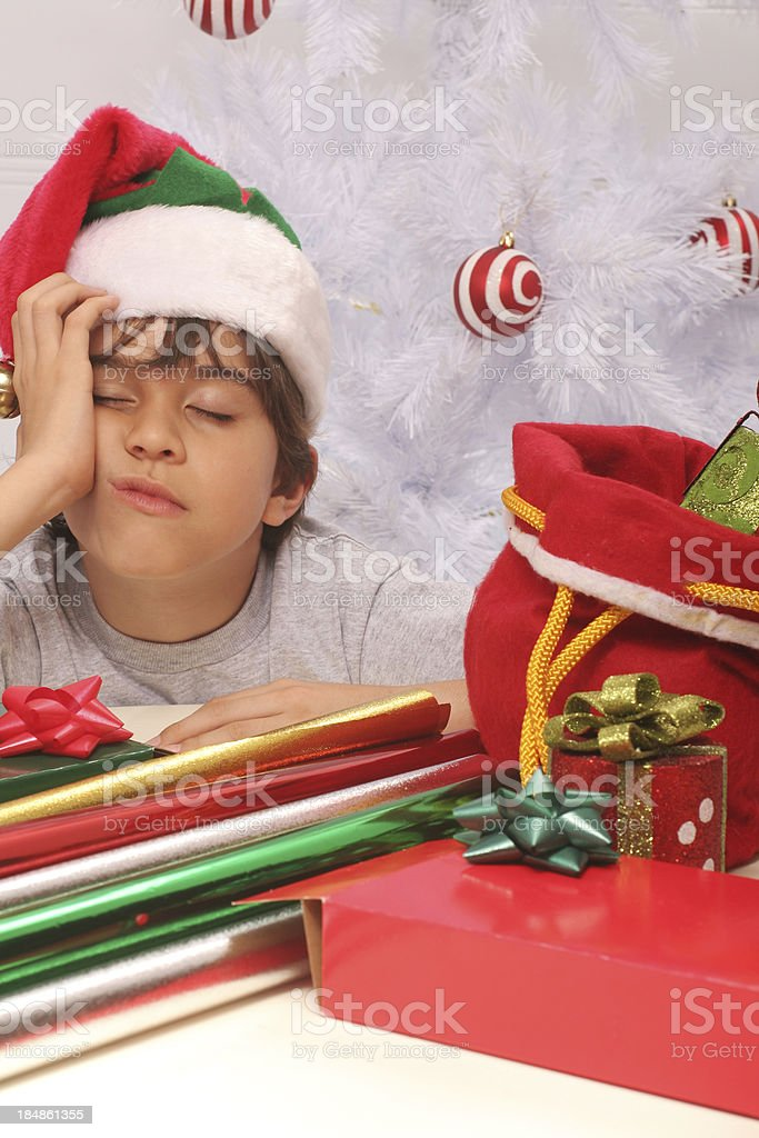 Elf Sleeping at Work royalty-free stock photo