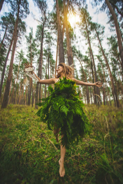 Elf woman fairy with dream-cacher wearing beautiful dress made from fern leaves. stock photo