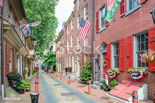 Stock photograph of historic Elfreth's Alley in the Old City district of Philadelphia Pennsylvania USA.