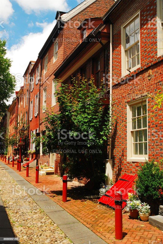 Elfreth's Alley, Philadelphia stock photo