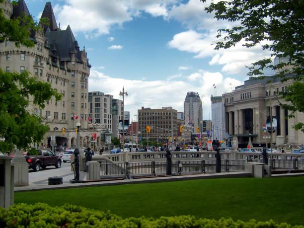 Elgin at Wellington Street View, Ottawa Canada stock photo