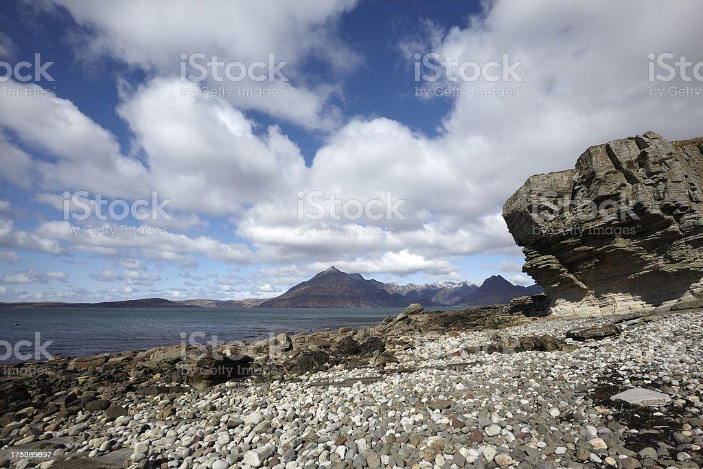 Elgol Beach, Loch Scavaig and Cuillin Mountains stock photo