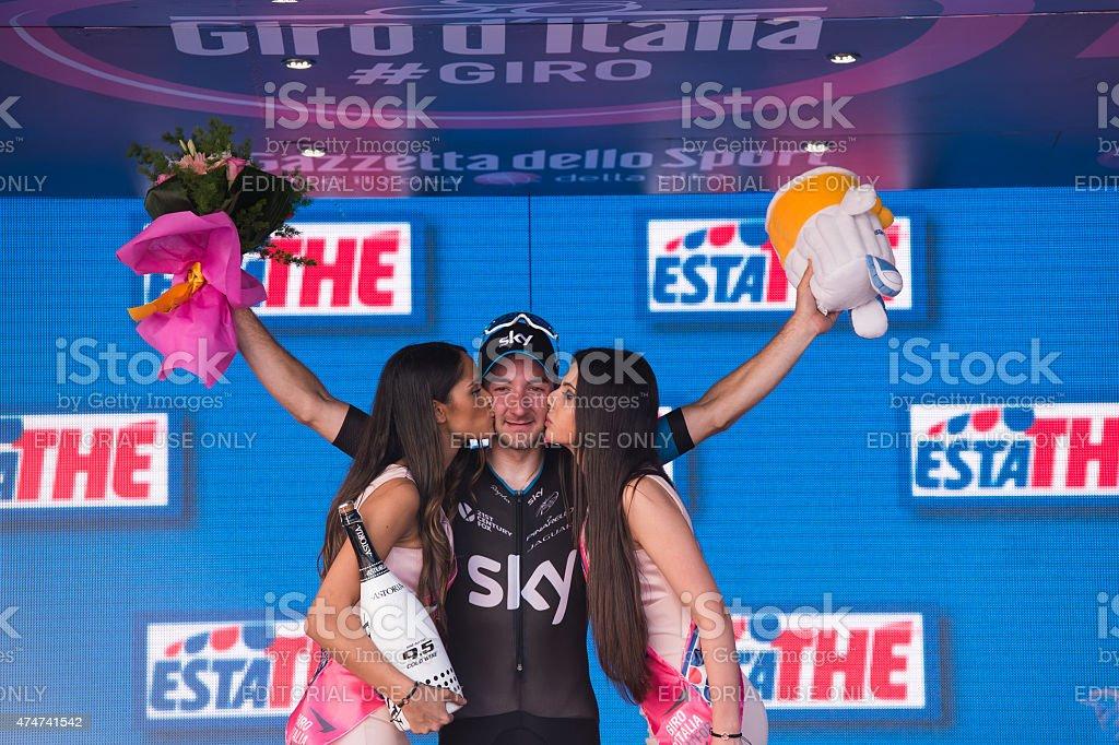 Elia Viaviani on the podium stock photo