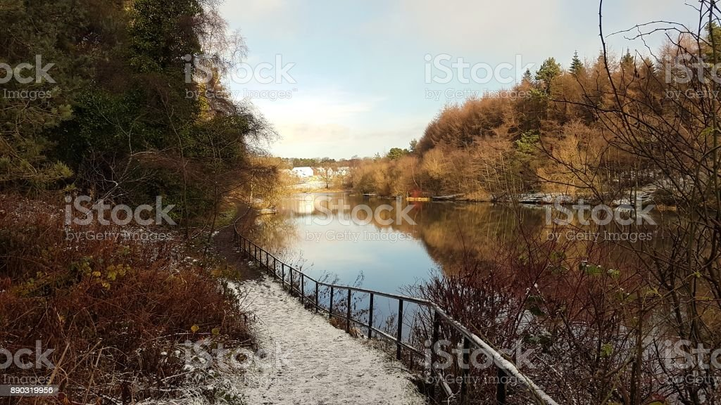 Eliburn Reservoir Winter stock photo