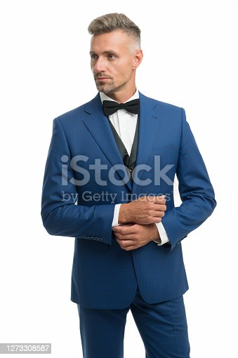 Eligible bachelor. Bachelor man isolated on white. Single man in formal style. Bachelor party. Celebrating bachelor day. Mens style and fashion. November 11. Singles day.