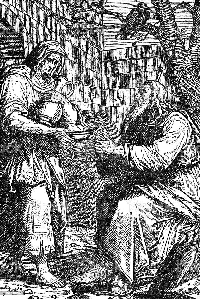 Elijah Asks the Widow for Bread royalty-free stock photo