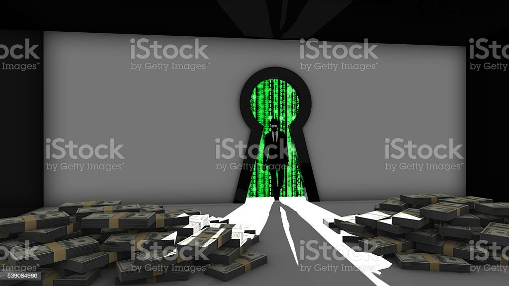Elite hacker entering a room through keyhole to steal money stock photo