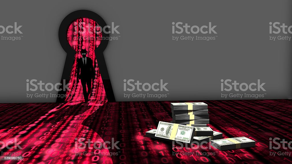 Elite hacker entering room through a keyhole to steal money stock photo