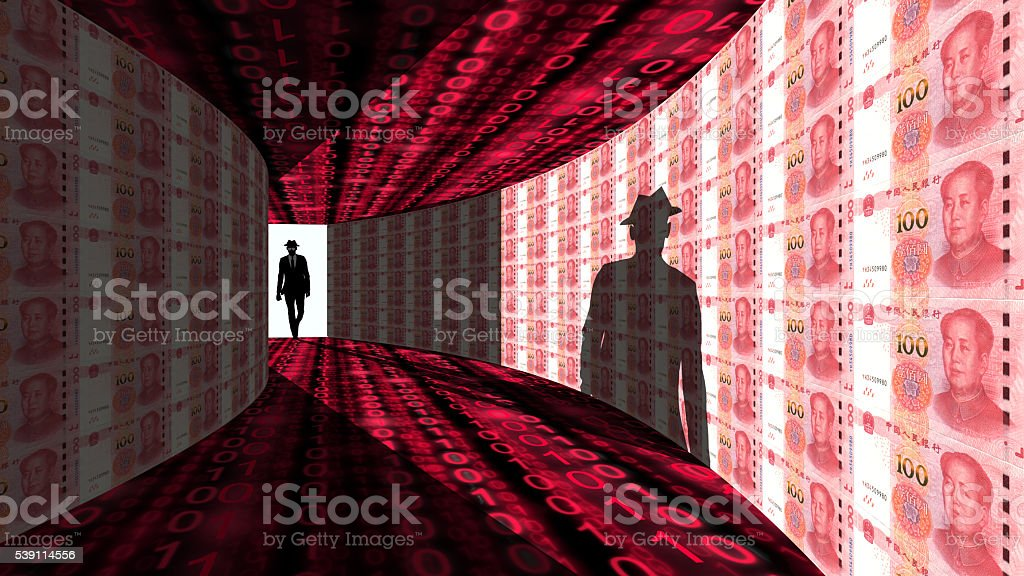 Elite hacker enters hallway textured with Chinese RMB stock photo