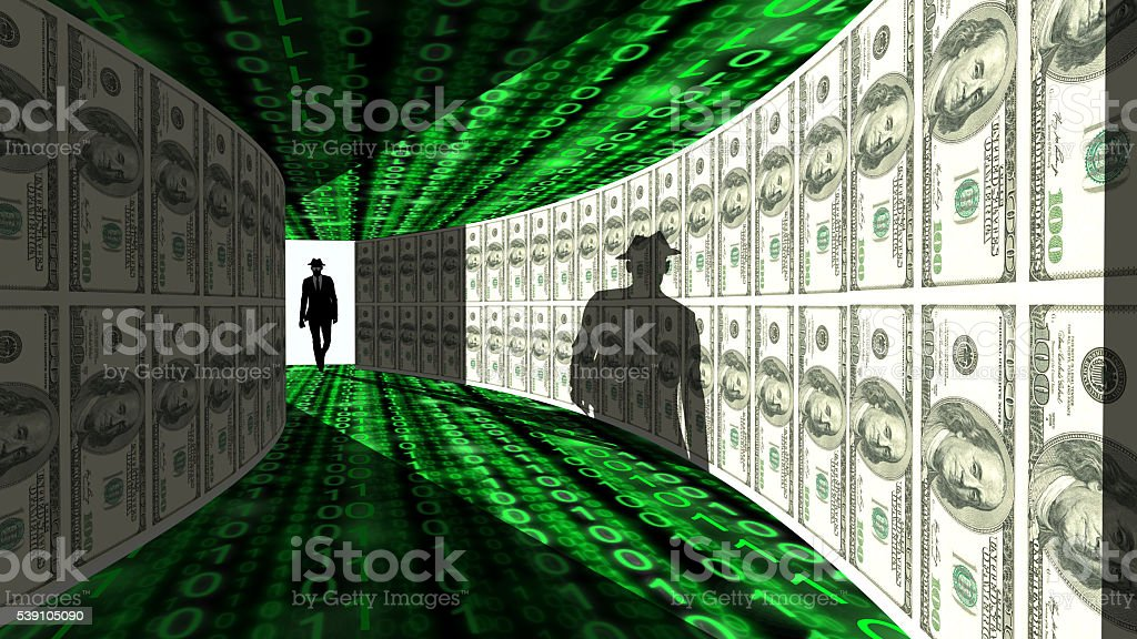 Elite hacker enters hallway with walls textured with dollar bill stock photo