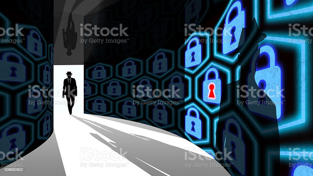Elite hacker enters information security hallway with locks stock photo