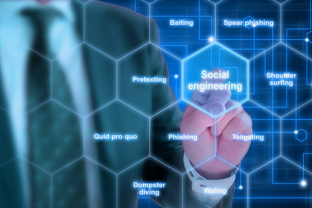 Elite hacker social engineering concept Hexagon grid with social engineering keywords like phishing and tailgating with a elite hacker in suit background social issues stock pictures, royalty-free photos & images