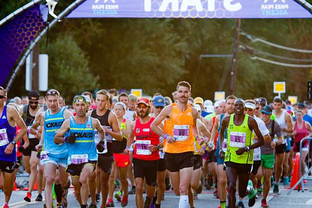 Elite Start at the Pikes Peak Marathon and Ascent stock photo