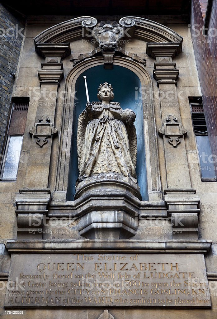 Elizabeth I Statue at St Dunstan-in-the-West Church royalty-free stock photo