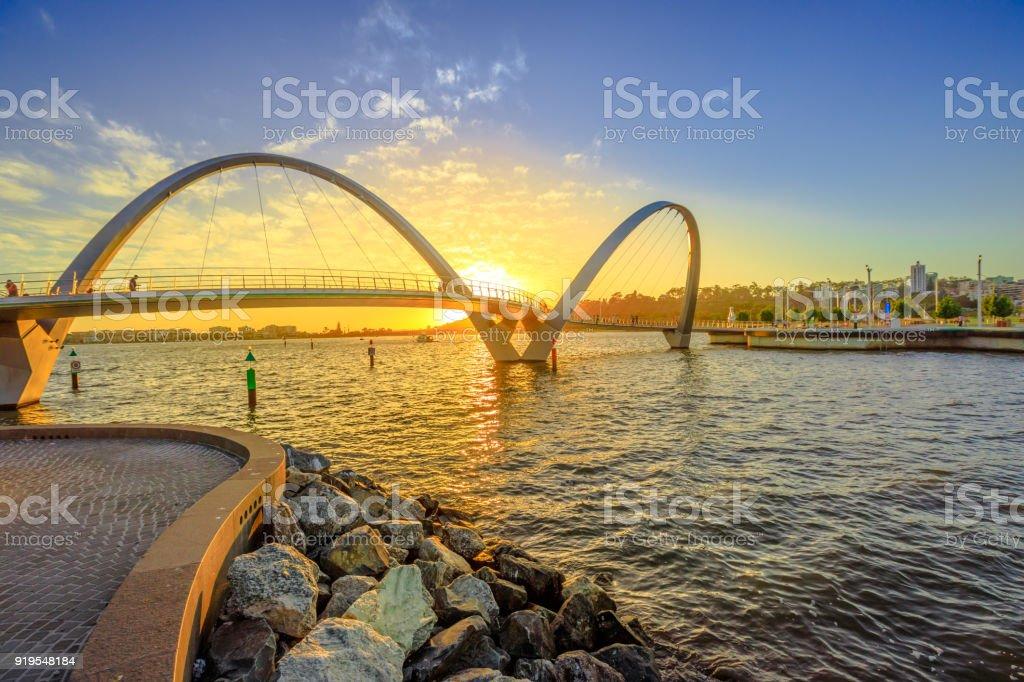 Elizabeth Quay Bridge sunset stock photo
