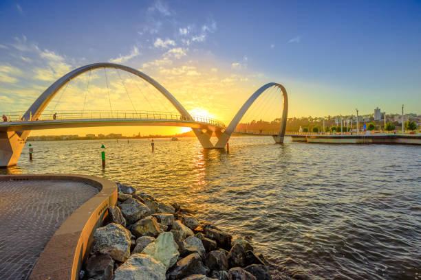 elizabeth quay bridge sunset - western australia stock pictures, royalty-free photos & images