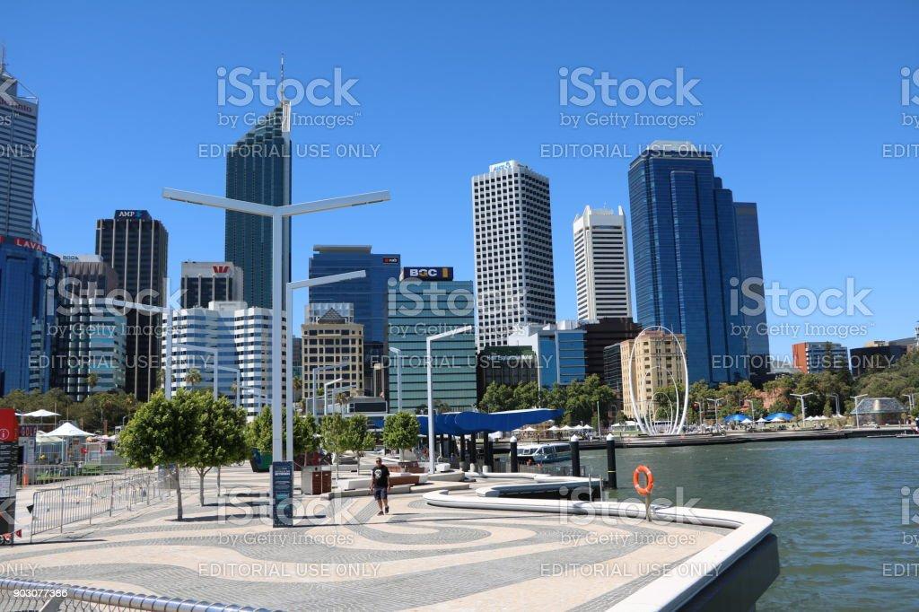 Elizabeth Quay in Perth, Western Australia stock photo