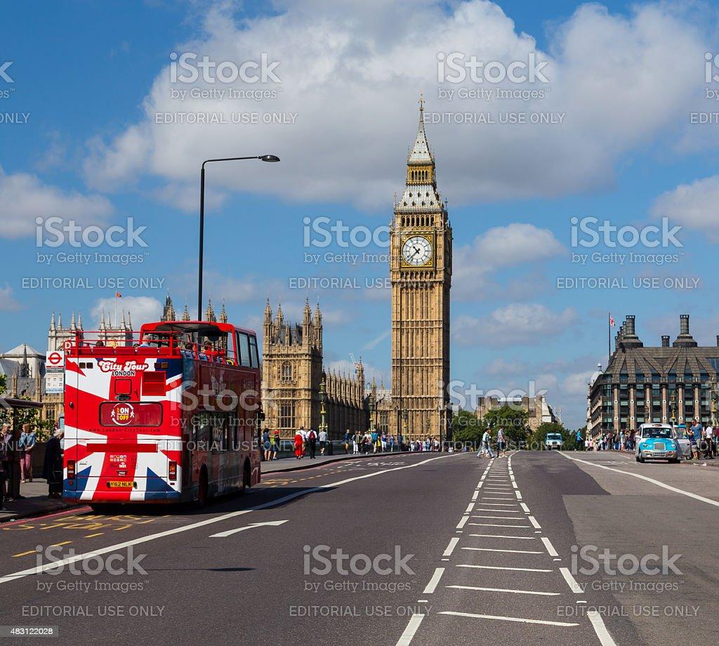 Elizabeth Tower and Westminster Bridge stock photo