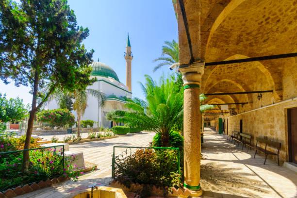 El-Jazzar Mosque (the white mosque) in Acre (Akko) stock photo