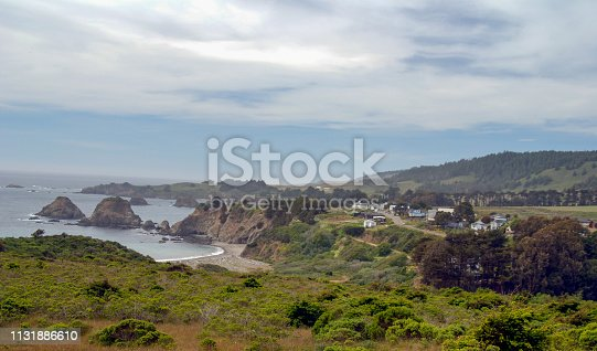 The  town of Elk, California on Highway 1 in Mendocino County sits on the cliffs above the Pacific Ocean