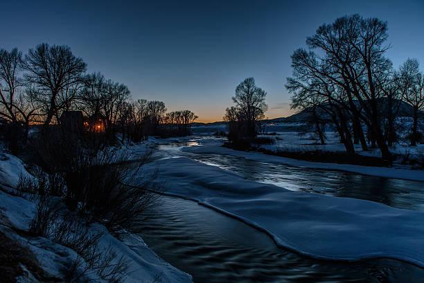 Elk Creek Shines in the Evening Twilght stock photo