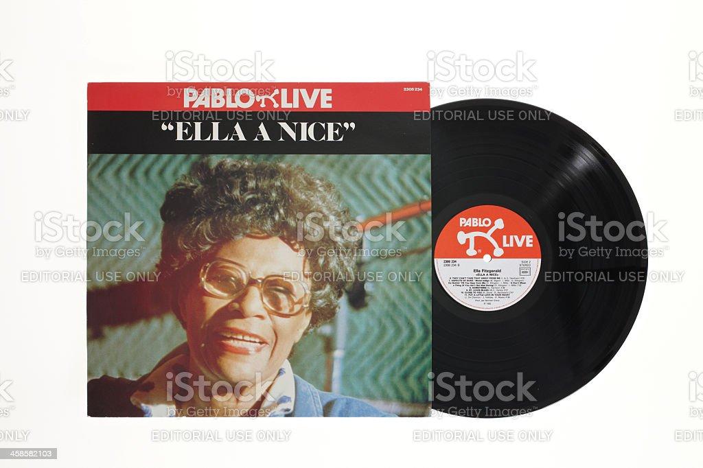 Ella Fitzgerald LP Cover and vinyl stock photo