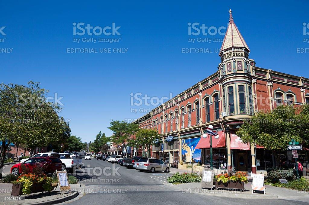 Ellensburg Washington downtown rural community center stock photo