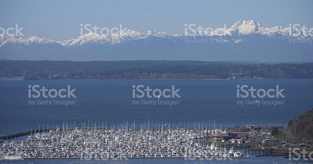 Elliot Bay and Olympics stock photo