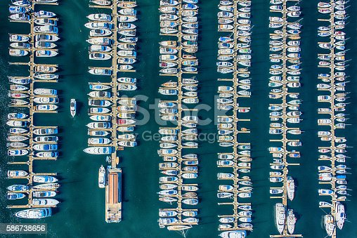 An aerial view of the boats anchored in Smith Cove, Elliot Bay Marina located in Seattle Washington.