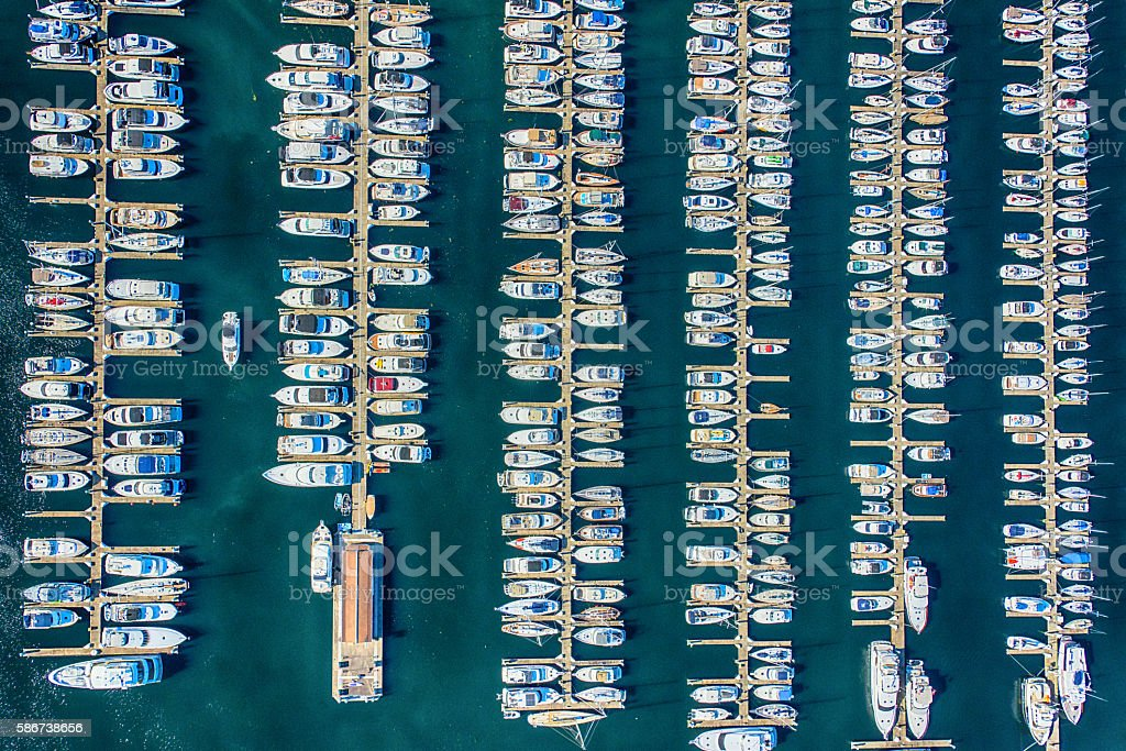Elliot Bay Marina Aerial View - Seattle Washington stock photo