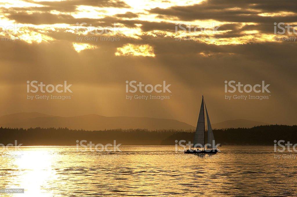 Elliot Bay Sunset stock photo