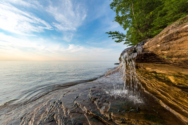 Elliot Fall on Miners Beach at Pictured Rocks, Michigan
