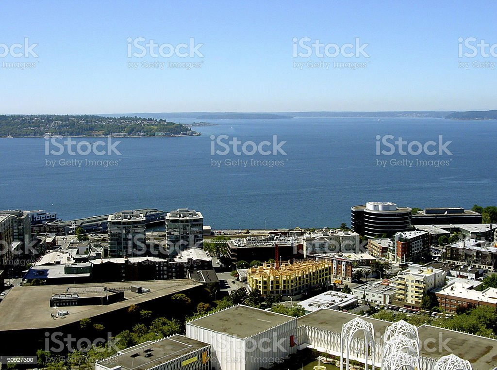 Elliott Bay in Puget Sound, Washington stock photo
