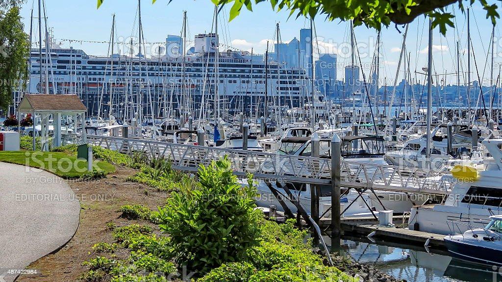 Elliott Bay Marina in Seattle stock photo