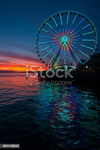 A vivid sunset on Elliott bay