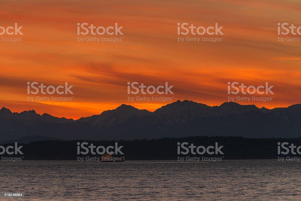 Elliott Bay Sunset stock photo