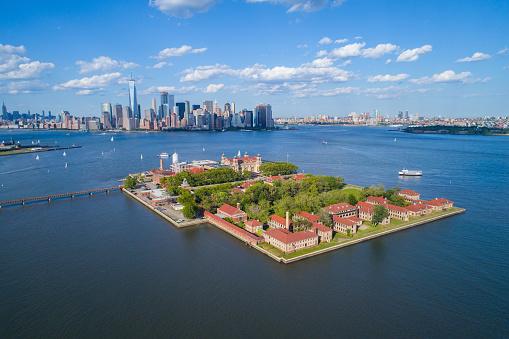 Aerial image of Ellis Island