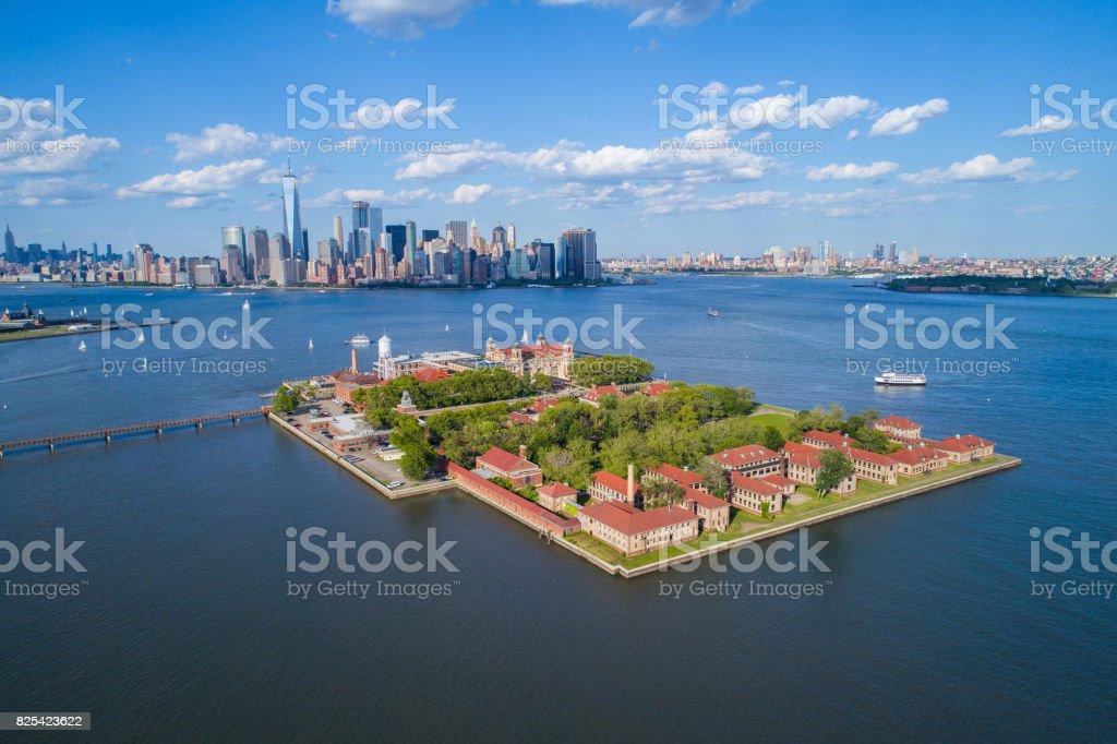 Ellis Island aerial photo stock photo