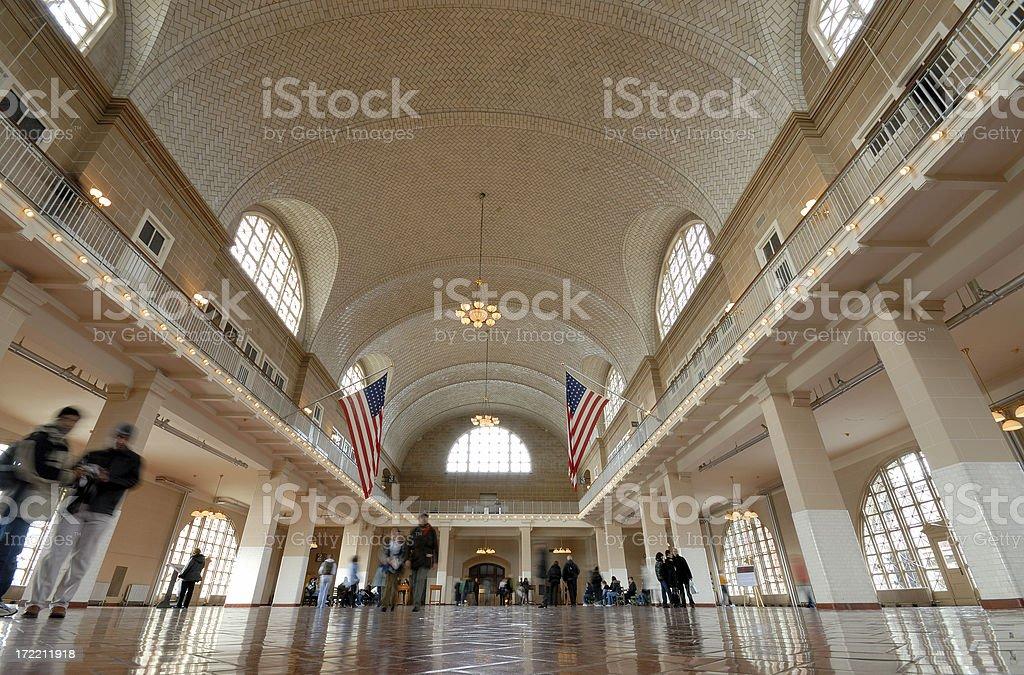 Ellis Island great hall stock photo