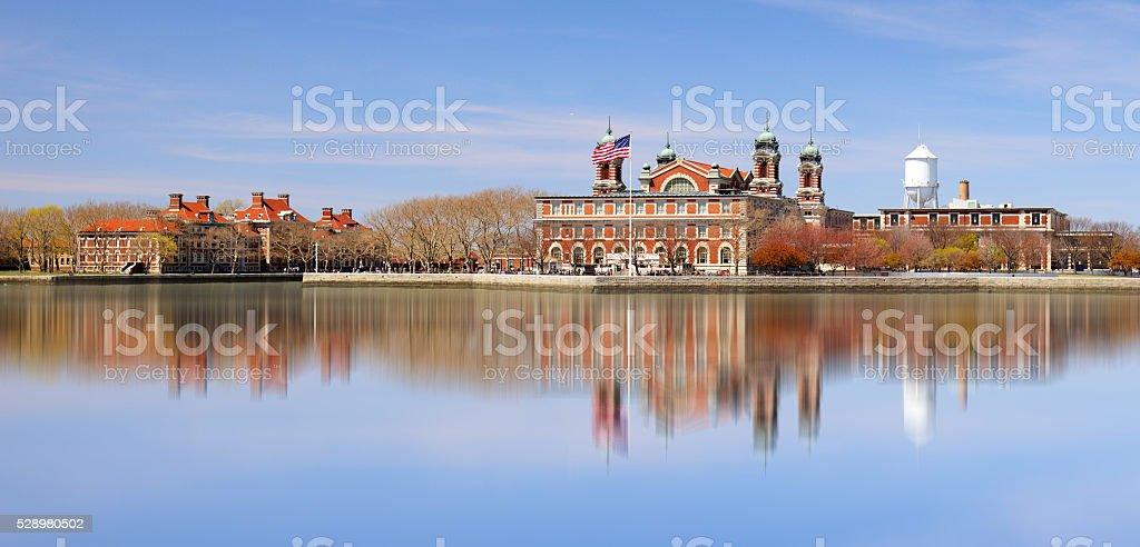 Ellis Island in New York harbor stock photo